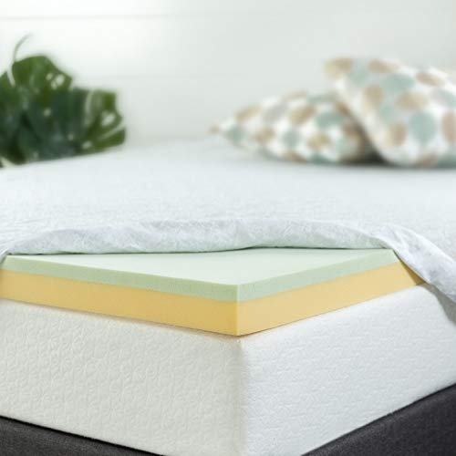 Zinus 4 Inch Green Tea Memory Foam Mattress Topper / Green Tea & Charcoal Infused for Freshness / CertiPUR-US Certified, King