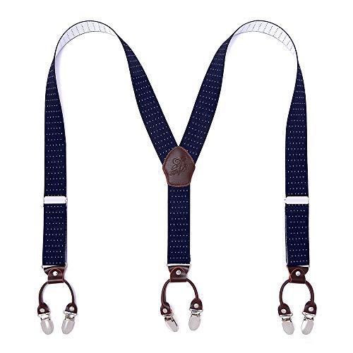 KANGDAI Mann Hosenträger Mode Einstellbare und Hohe Qualität 6 Clips mit Y Zurück Durable Breite Elastische Straps Hosenträger für Hosen Hosenträger (Blauer weißer Punkt)