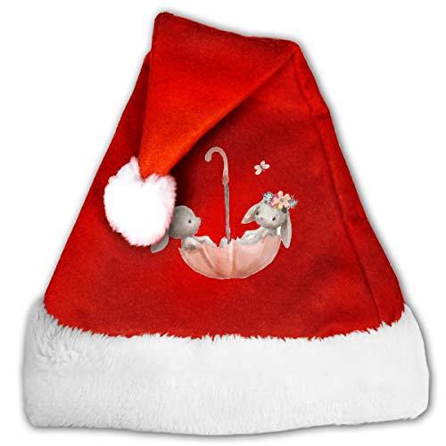 CZLXD Weihnachtsmütze mit Hasen auf Regenschirm, personalisierbar, Polyester, rot, M