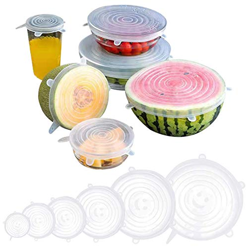 12 Pack Silicone Stretch Lids, Reusable Kitchen Durable Airtight Food...
