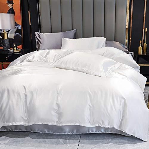 AmenSixye Funda nórdica de Seda Satinada Unicolor, Cubierta Suave de edredón Individual o Doble, Comodidad Avanzada para la Cama del hogar,82.6x82.6inch-210 * 210cm(3piezas),Blanco