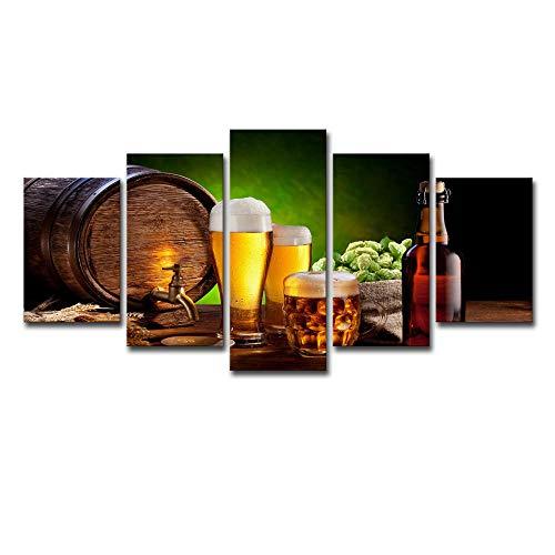 MANCKLY Decoración De La Pared Botella De Cerveza Poster Arte De La Pared Imagen Cuadros En Lienzo Pintura 5 Paneles Moderno para Habitación Decoración para El Hogar