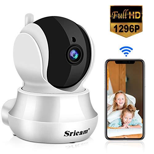 Sricam SP020 Telecamera di Sorveglianza WiFi Interno, 1296P Camera Wireless con Visione Notturna a Infrarossi, Audio Bidirezionale, Tracciamento umanoide, Compatibile con iOS Android