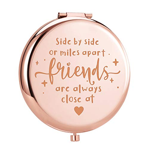 ElegantPark Best Friend Gifts Friendship Gifts for Women Birthday Christmas Graduation Gifts for Best Friends Engraved Compact Mirror for Pocket Travel Makeup Mirror