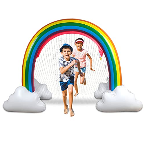 Wodesid 9 Feet Giant Rainbow Archway Water Sprinkler for Kids Inflatable Summer Toy Outdoor Water Splash Pad Perfect for Lawn Beach Birthday Party, Playground, Backyard (9FT Rainbow Sprinkler)