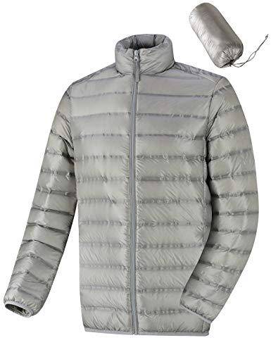 Bakery Men's Lightweight Down Jacket Packable Puffer Stand Collar Winter Warm Coat Gery XXL