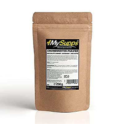 MySupps- Chondroitin Pulver, 100% reines & ultrafeines Chondroitin Pulver, Hohe biologische Verfügung, ideale Trainingsunterstützung für Sportler & Spitzenathleten, Made in Germany (250g)