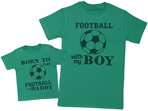 Born to Play Football with Daddy - Passende Vater Baby Geschenkset - Herren T-Shirt & Baby T-Shirt/Baby Top - Grün - Large & 3-6 Monate