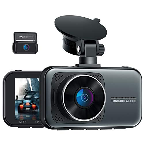"TOGUARD 4K Dash Cam Front and Rear 2160P+1080P UHD Dashcams for Cars, 3"" Display Dual Dash Camera Video Recorder with Parking Monitor G-Sensor, Support 256GB Max"