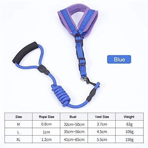 KIU Set ademend vest halsband linnen hondentuig veilig looptraining huisdier hondenriem touw