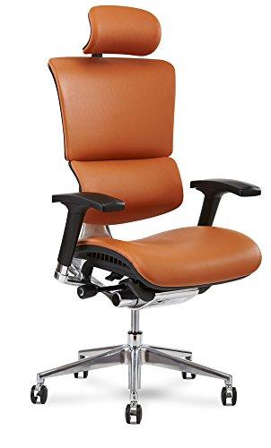 X-Chair X4 Executive Chair, Cognac Leather with Headrest