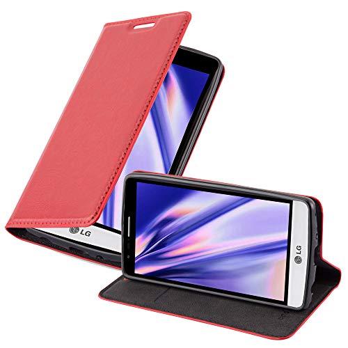 Cadorabo Hülle für LG G3 Mini / G3 S in Apfel ROT - Handyhülle mit Magnetverschluss, Standfunktion & Kartenfach - Hülle Cover Schutzhülle Etui Tasche Book Klapp Style