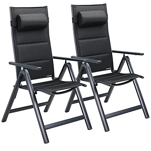 Casaria Juego de 2 sillas Bern Premium Antracita Set de Asientos con Respaldo Alto para jardín terraza