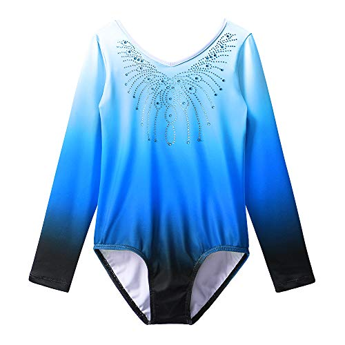 BAOHULU バレエレオタード 体操服 長袖 子供用 ビーズ付 伸縮性いい スカートなし Vネック グラデーション 女の子用 新体操練習ウェア B152_Blue_6A