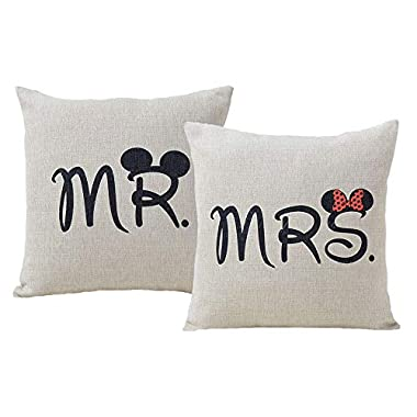 Jahosin Set of 2 Throw Pillow Covers 18 X 18 Inches,Decorative Couple-Love Cushion Case (Mr and Mrs)