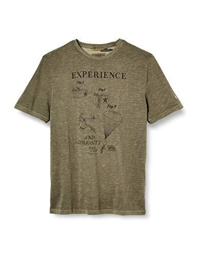 camel active Herren H 1/2 Arm T-Shirt, Grün (Olive 75), Large (Herstellergröße: L)