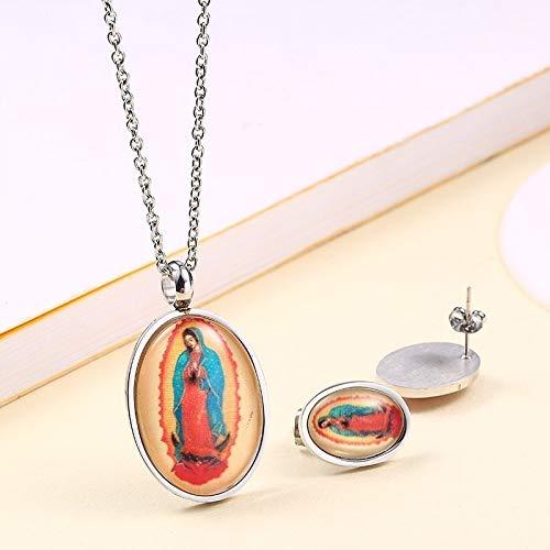 Burenqi Virgen María Conjuntos de joyería de Plata y Oro de Acero Inoxidable Redondo relicario Collar Colgante con Pendientes del Perno Prisionero,Plata1