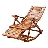 MAMINGBO Silla de jardín Tumbona Sillones reclinables Cómodo Relajarse Mecedora Tumbona Plegable reclinable de Madera for balcón al Aire Libre Jardín Interior Piscina
