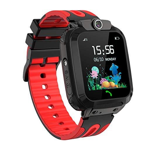 SmartWatch Niños, Reloj Inteligente para Niños, Localización LBS Llamadas Pantalla Táctil Impermeable SOS Cámara Regalo de Cumplea?os para Niños de 3-12 (Red)