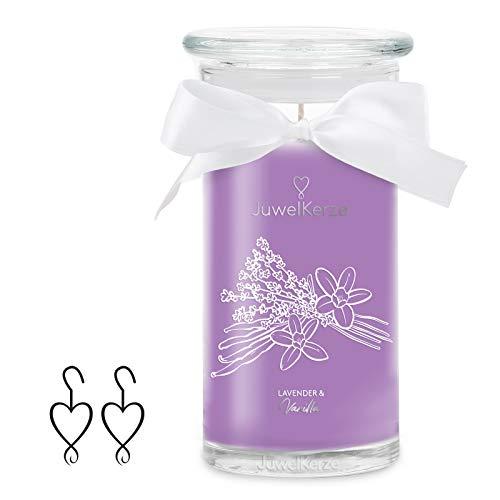 JuwelKerze Lavender & Vanilla, große Duftkerze (Lavendel, 1020g, 95-125 Std. Brenndauer) in Violett mit 925er Sterling Silber Schmuck, Ohrringe