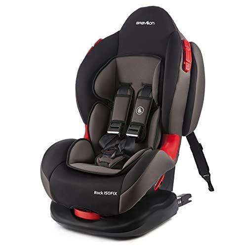 BABYLON silla bebe coche Rock ISOFIX silla de bebe para coche grupo 1/2, silla de coche grupo 9-25 kg (9 meses a 7 años). silla coche bebe ECE R44 /04 Negro/gris ahumado