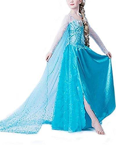Black Sugar Longue Traine Bleue Magnifique Robe Princesse Elsa La Reine des Neiges Enfant 3 à 12 Ans Fêtes Déguisement Carnaval A Offrir Cadeaux Anniversaire (6-7 ans)