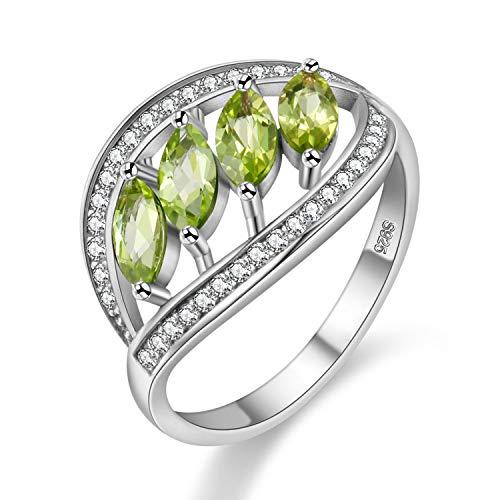 Uloveido Anillo de declaración de piedra de peridoto verde para mujer de moda, anillo de cóctel de plata esterlina 925 para mujeres niñas novia mamá FJ110