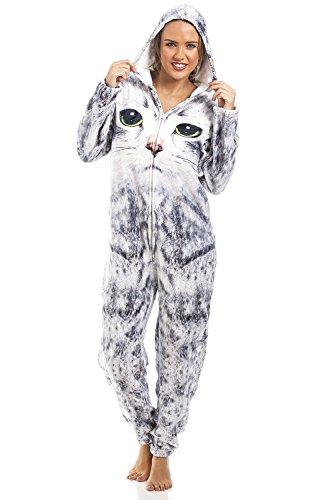 Camille - Pijama de una Pieza - para Mujer e Infantil - Estampado de Gato - Gris Claro