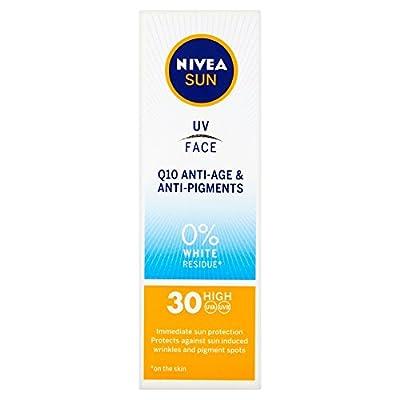 NIVEA UV Face SPF30 Q10 Anti-Age & Anti-Pigment 0% White Residue (50ml), Q10 Face Sun Cream, UV Face Cream Anti Ageing, Anti Ageing Cream with SPF30