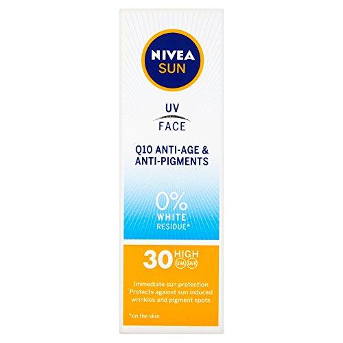 NIVEA UV Face, LSF 30, Q10, Anti-Age & Anti-Pigment, 0 % weißer Rückstand (50 ml), Q10-Sonnencreme für das Gesicht, Anti-Aging-Creme mit LSF 30