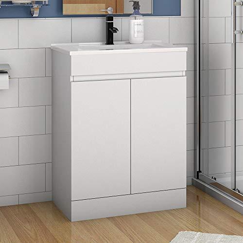 Aica Sanitär Badmöbel Set 60 cm Athem Keramik Waschbecken mit Unterschrank Waschtisch Standschrank Weiß