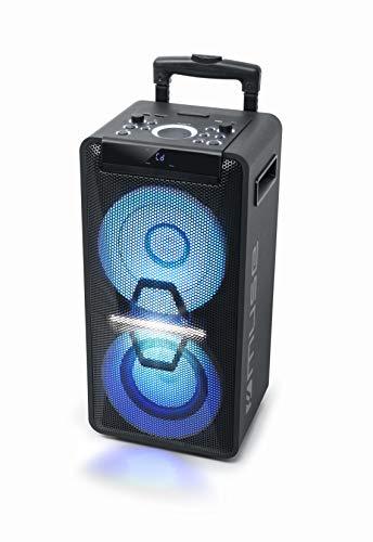 MUSE M-1920 DJ PA-Anlage mit Akku, 300 Watt, mit CD, Bluetooth und Licht-Effekten (USB, AUX, Mikrofon, Fernbedienung), schwarz