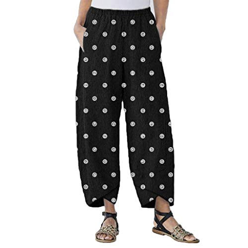 WOZOW Harem Pants Damen Boho Polka Dots Print Bedrucktes Druck Loose Long Bloomers Slit Cuff Casual High Waist Mode Elegant Saggy Trousers (M,Schwarz)