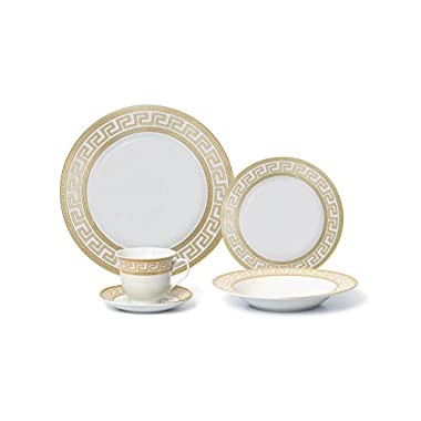 Royalty Porcelain 20-Piece Old-Fashioned White Gold-plated Dinnerware Set w/ Greek Pattern, Service for 4