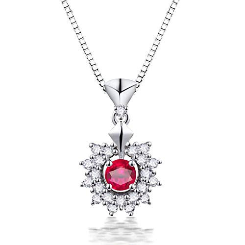 Amody White Gold Necklace 18K, Bridesmaid Necklace Gifts Flower with 0.28ct Ruby 0.27ct Diamond White Gold