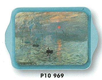 MINI PLATEAU METAL VIDE POCHE 14X21cm PEINTURE CLAUDE MONET SOLEIL LEVANT