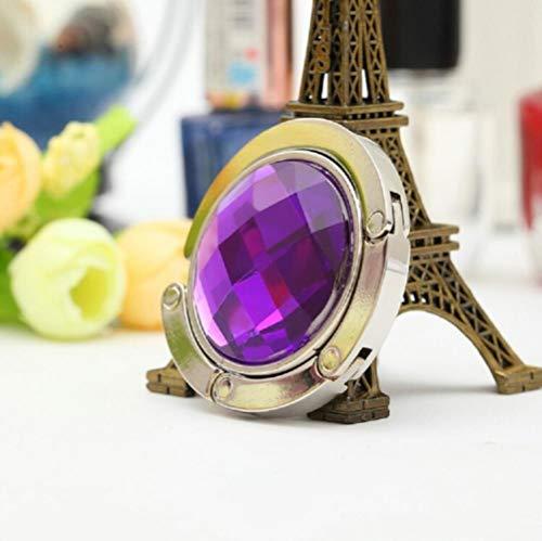 DioLm Bolso Gancho Portátil Plegable Mesa Plegable Bolso Bolso Gancho Percha Soporte Bolso Cristal Decoración de Diamantes de imitación, Violeta