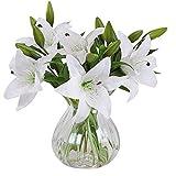 Homcomodar Künstliche Blumen Gefälschte Lily 5 blumensträuße Gefälschte Blume Bouquet für Home Wedding Party Decor(Weiß)