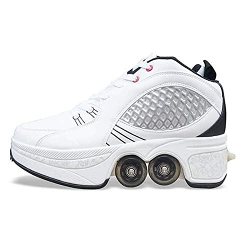 Pinkskattings@ Deformación Zapatos para Caminar Automáticos Patín Invisible 2 En 1 Patines De Polea Extraíbles Patinaje Zapatos con Ruedas Zapatillas con Ruedas para Niños Y Niña