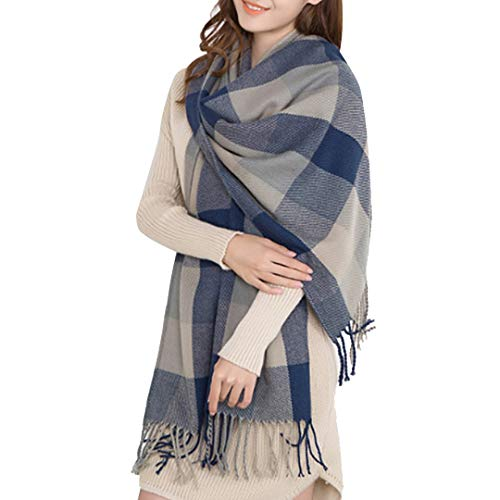 Miss Lulu Women Scarves Winter Long Soft Warm Tartan Check Wraps Wool Spinning Tassel Shawl Stole Scarf (Grey)