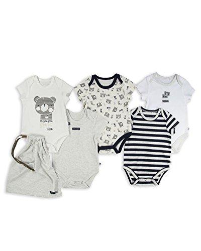 The Essential One - Paquete de 5 Osito Body Bodies para bebé niños – Blanco/Gris/Azul - Primera...