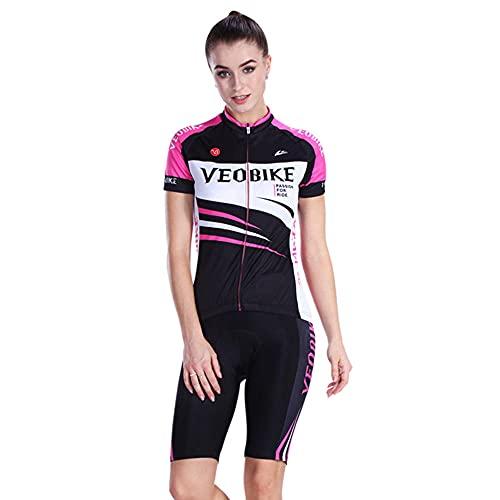OUGEA Abbigliamento Ciclismo Donna Tuta a Maniche Corte Outdoor Abbigliamento Sportivo Mountain Bike Bicicletta Abbigliamento ciclismo-11_L