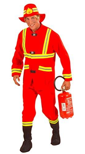 Karneval-Klamotten Kostüm Feuerwehrmann Erwachsene Herren-Kostüm rot Feuerwehr-Uniform Oberteil Hose Stulpen inkl. Feuerwehr-Helm