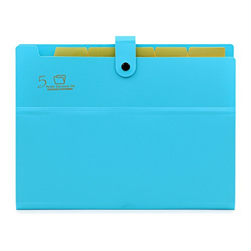 5-Pocket Expanding File with Button Closure, A4 Size Accordion File Folder Organizer Binder Wallet for Paper Projects Cards Bills Receipts Checks Invoice Pouch School & Office Supply, Blue