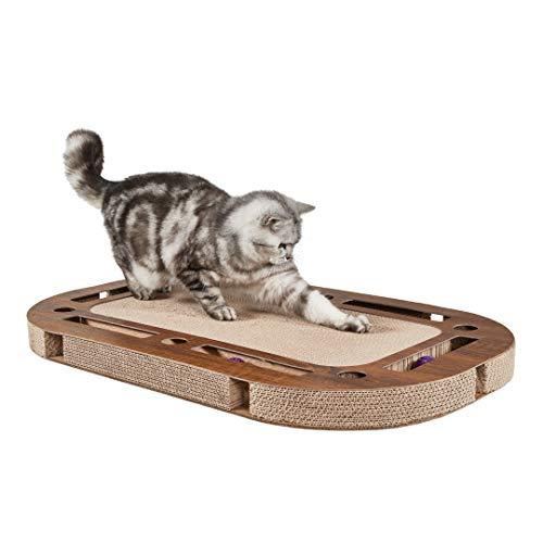 CanadianCat Company ® | Katzenspielplatz XXL 85 x 54 x 5,8 cm mit integrierter Kratzpappe, interaktives Katzenspielzeug Kratzbrett