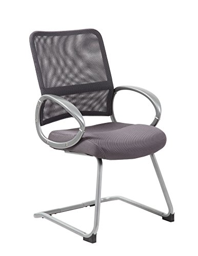 Boss Office Products Mesh Back Guest Chair with Pewter Finish in Charcoal Grey