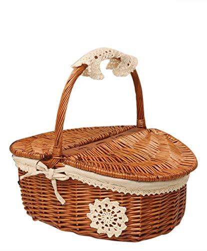Suszian H-Woven-Picknickkorb, Aufbewahrungskorb, Picknickkorb, handgefertigt, Camping, Picknickkorb, Einkaufskorb mit Deckel und Holzgriff