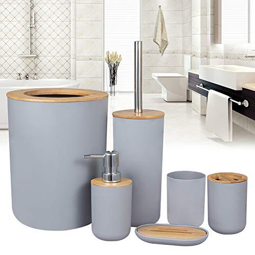Lanmei, set di 6 accessori per il bagno, tra cui contenitore per rifiuti, scopino, porta spazzolino, portasapone, dispenser di sapone e tazza, set di accessori da bagno in legno di bambù
