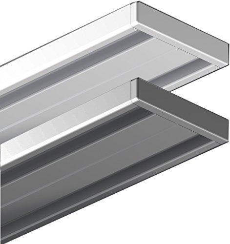 Garduna 300cm | Weiss | Gardinenschiene Vorhangschiene| Aluminium | 1- oder 2-läufig
