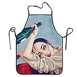 Seiobax Vino Tinto gótico Mujer Chica Arte Lindo Dibujos Animados Pug Globo Amarillo Cocina Delantal de Cocina Unisex Divertido Delantales de Chef
